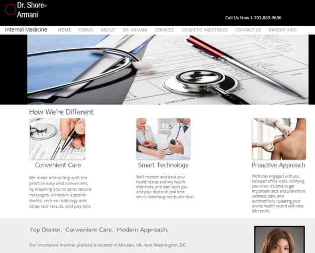 dr armani web home page screen shot