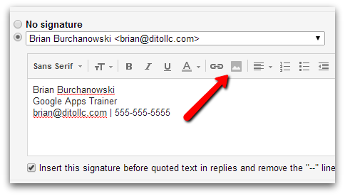 email settings sig line